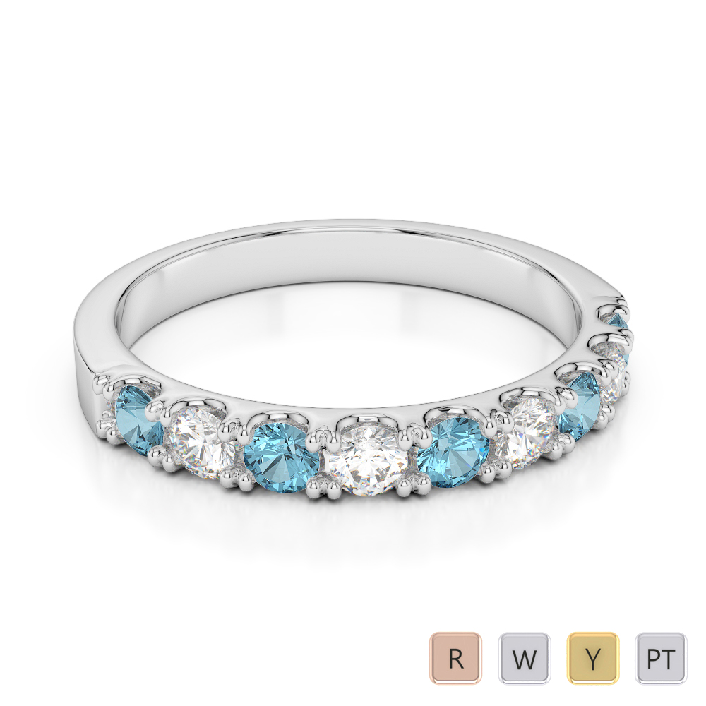 2.5 MM Gold / Platinum Round Cut Aquamarine and Diamond Half Eternity Ring AGDR-1124
