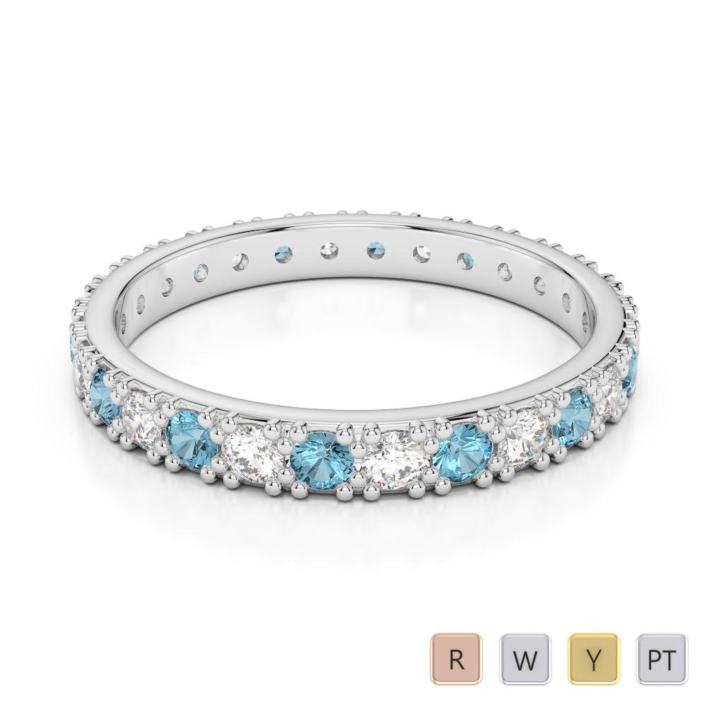 Gold / Platinum Round Cut Aquamarine and Diamond Full Eternity Ring AGDR-1127