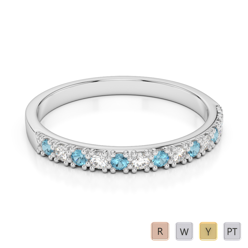 2.5 MM Gold / Platinum Round Cut Aquamarine and Diamond Half Eternity Ring AGDR-1129