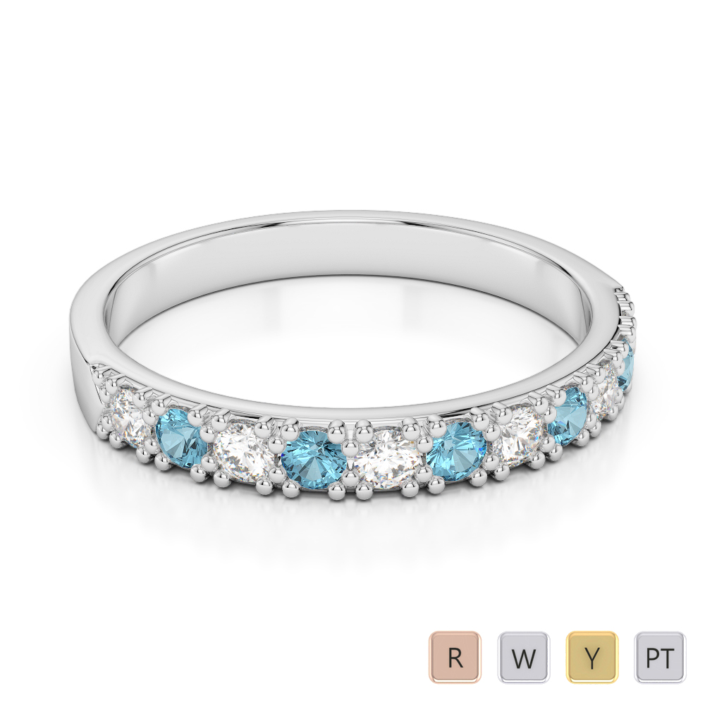 3 MM Gold / Platinum Round Cut Aquamarine and Diamond Half Eternity Ring AGDR-1130