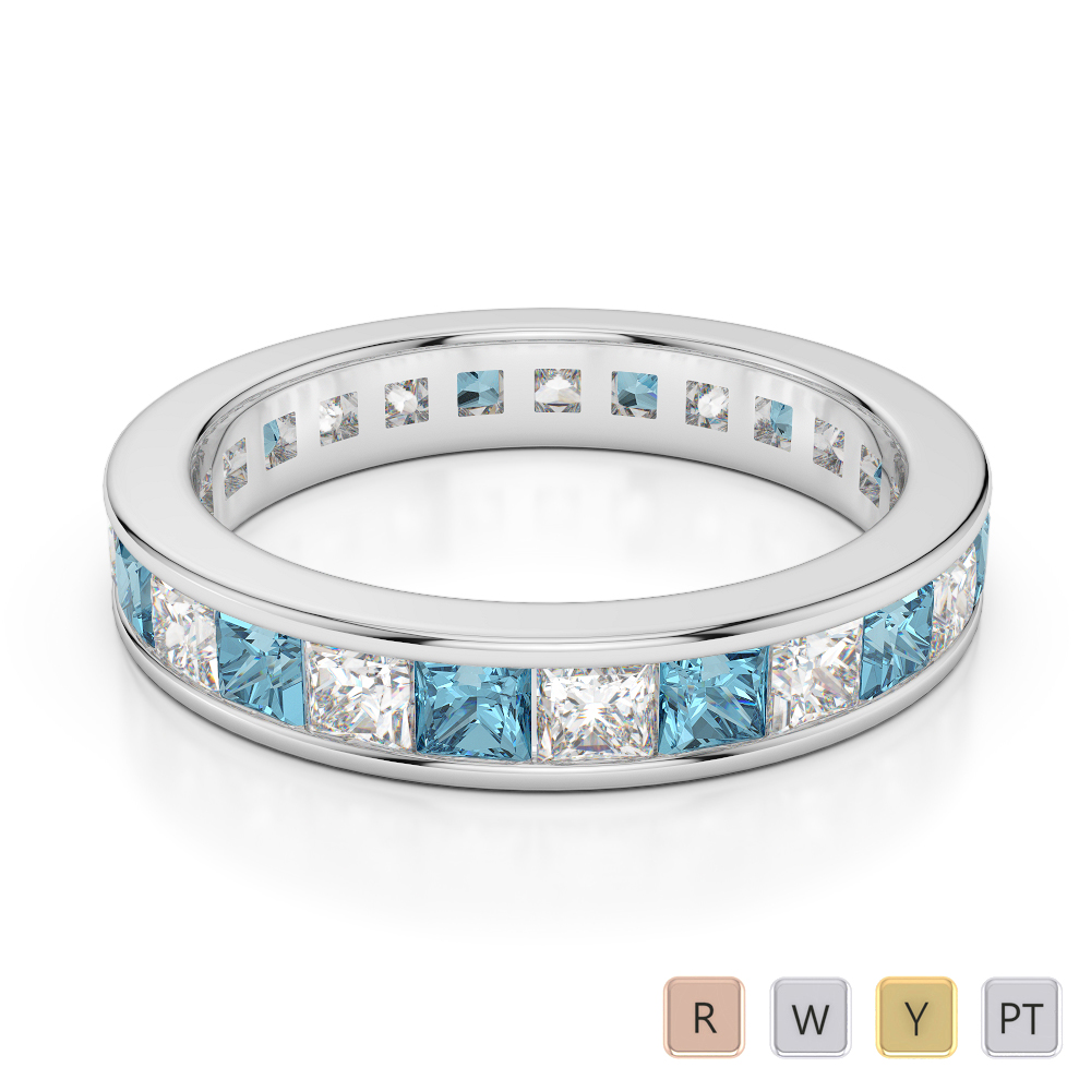 4 MM Gold / Platinum Princess Cut Aquamarine and Diamond Full Eternity Ring AGDR-1134