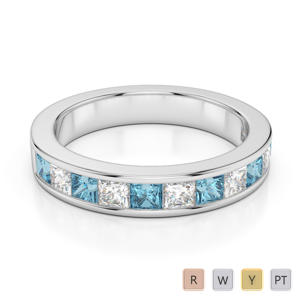 4 MM Gold / Platinum Princess Cut Aquamarine and Diamond Half Eternity Ring AGDR-1137