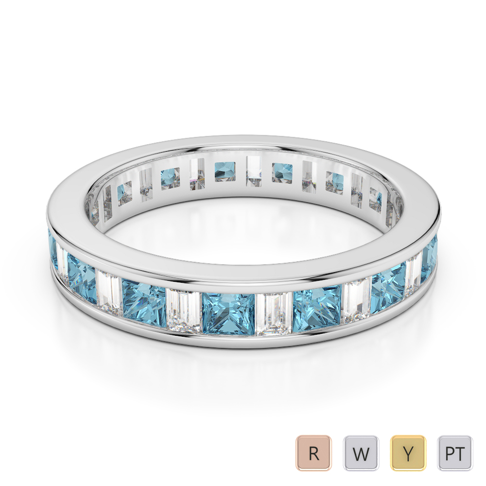 4 MM Gold / Platinum Princess and Baguette Cut Aquamarine and Diamond Full Eternity Ring AGDR-1141