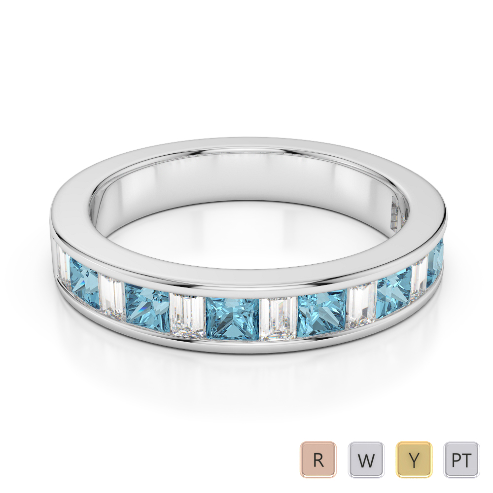 4 MM Gold / Platinum Princess and Baguette Cut Aquamarine and Diamond Half Eternity Ring AGDR-1143