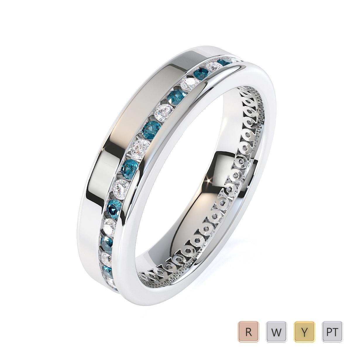 Gold / Platinum Aquamarine and Diamond Full Eternity Ring RZ1514