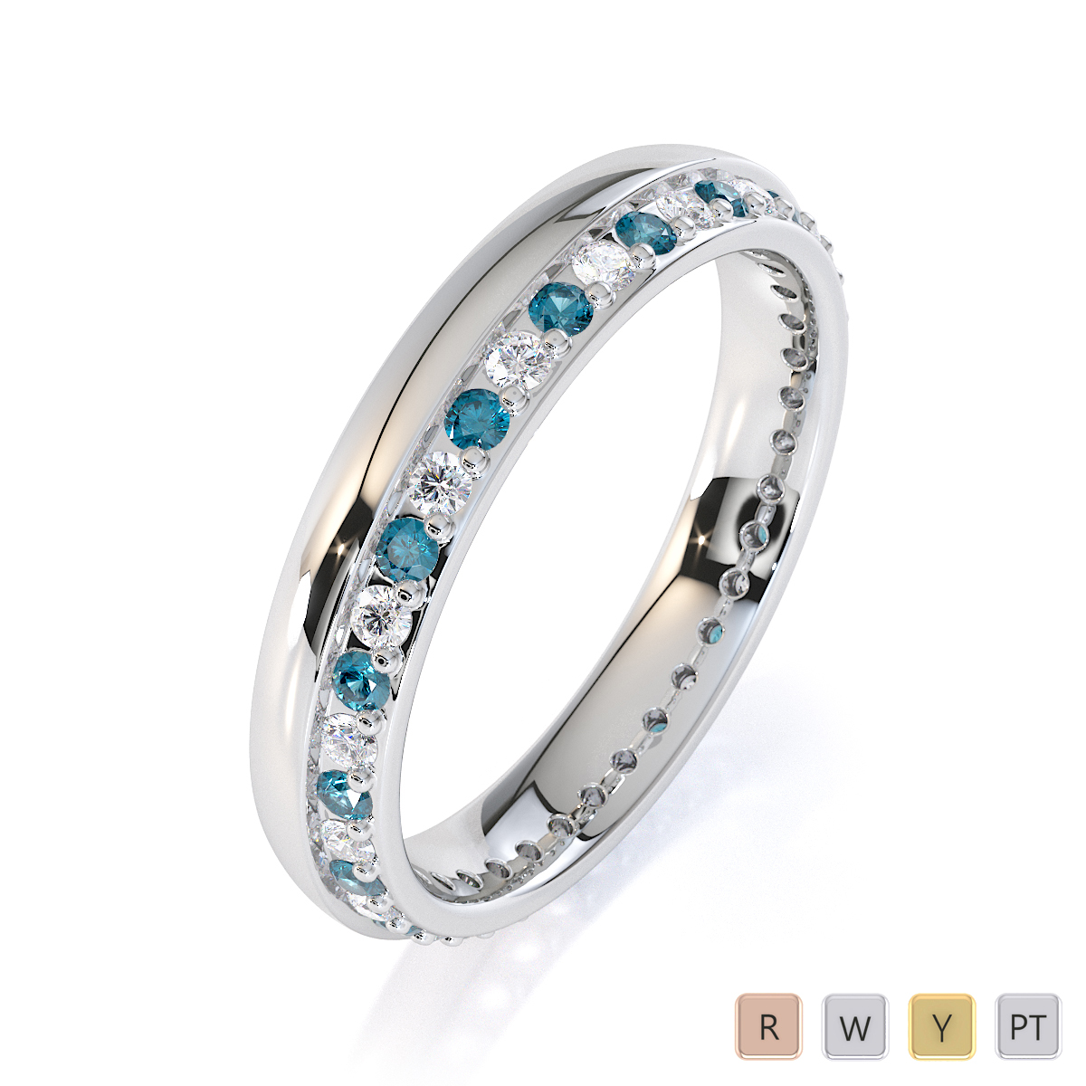 Gold / Platinum Aquamarine and Diamond Full Eternity Ring RZ1516