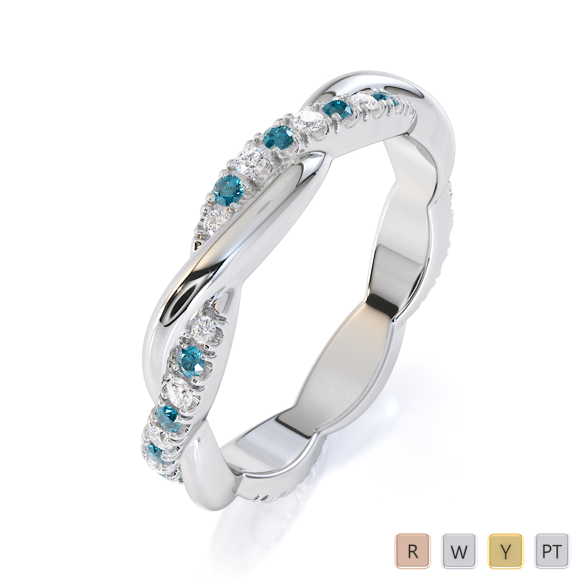 Gold / Platinum Aquamarine and Diamond Full Eternity Ring RZ1522