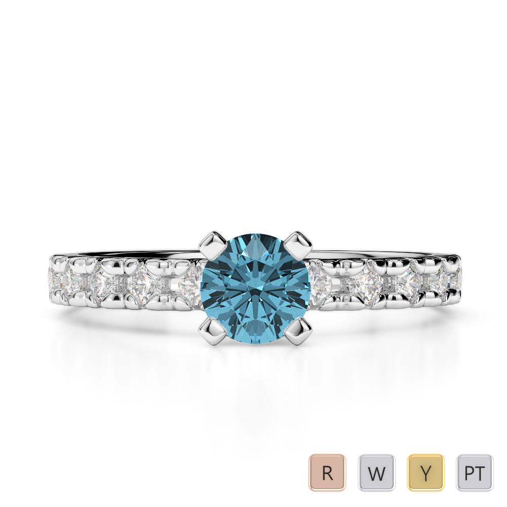 Gold / Platinum Round Cut Aquamarine and Diamond Engagement Ring AGDR-1171