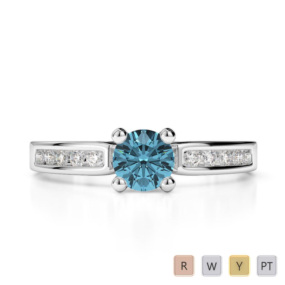 Gold / Platinum Round Cut Aquamarine and Diamond Engagement Ring AGDR-1184