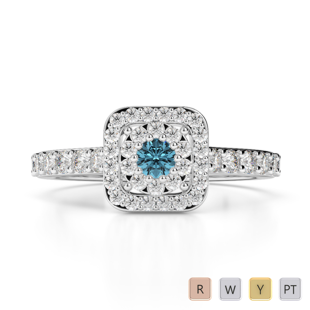 Gold / Platinum Round Cut Aquamarine and Diamond Engagement Ring AGDR-1189