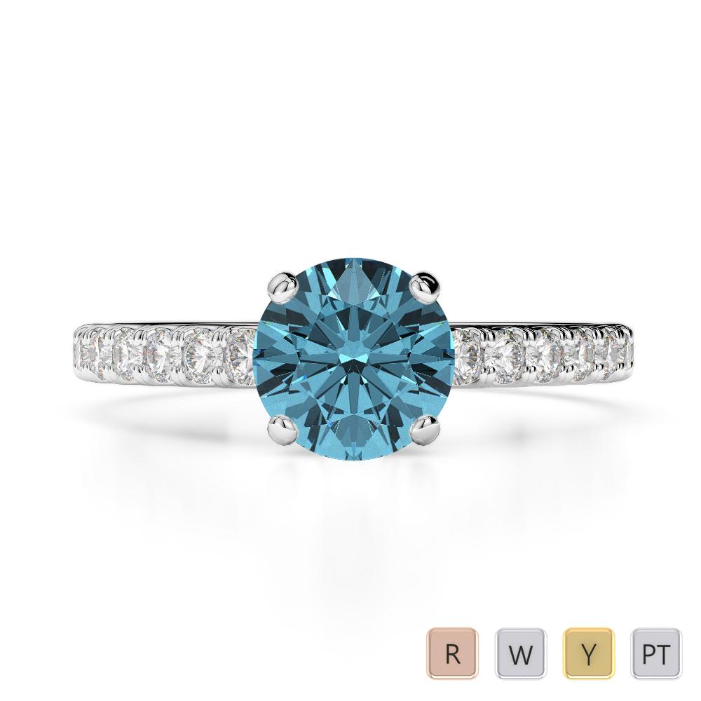 Gold / Platinum Round Cut Aquamarine and Diamond Engagement Ring AGDR-1201