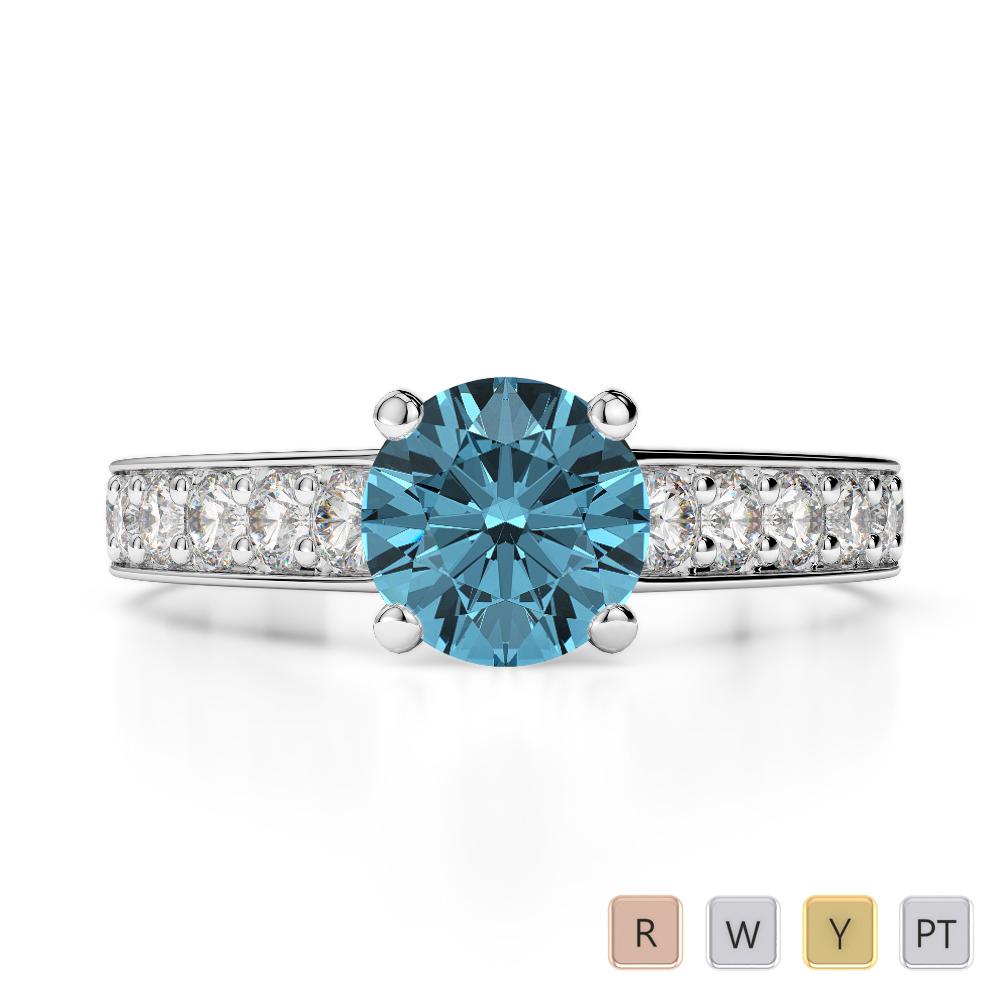 Gold / Platinum Round Cut Aquamarine and Diamond Engagement Ring AGDR-1202