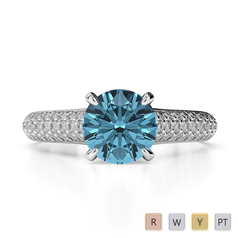 Gold / Platinum Round Cut Aquamarine and Diamond Engagement Ring AGDR-1203