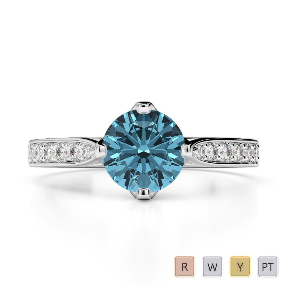 Gold / Platinum Round Cut Aquamarine and Diamond Engagement Ring AGDR-1204
