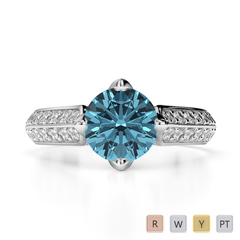 Gold / Platinum Round Cut Aquamarine and Diamond Engagement Ring AGDR-1205