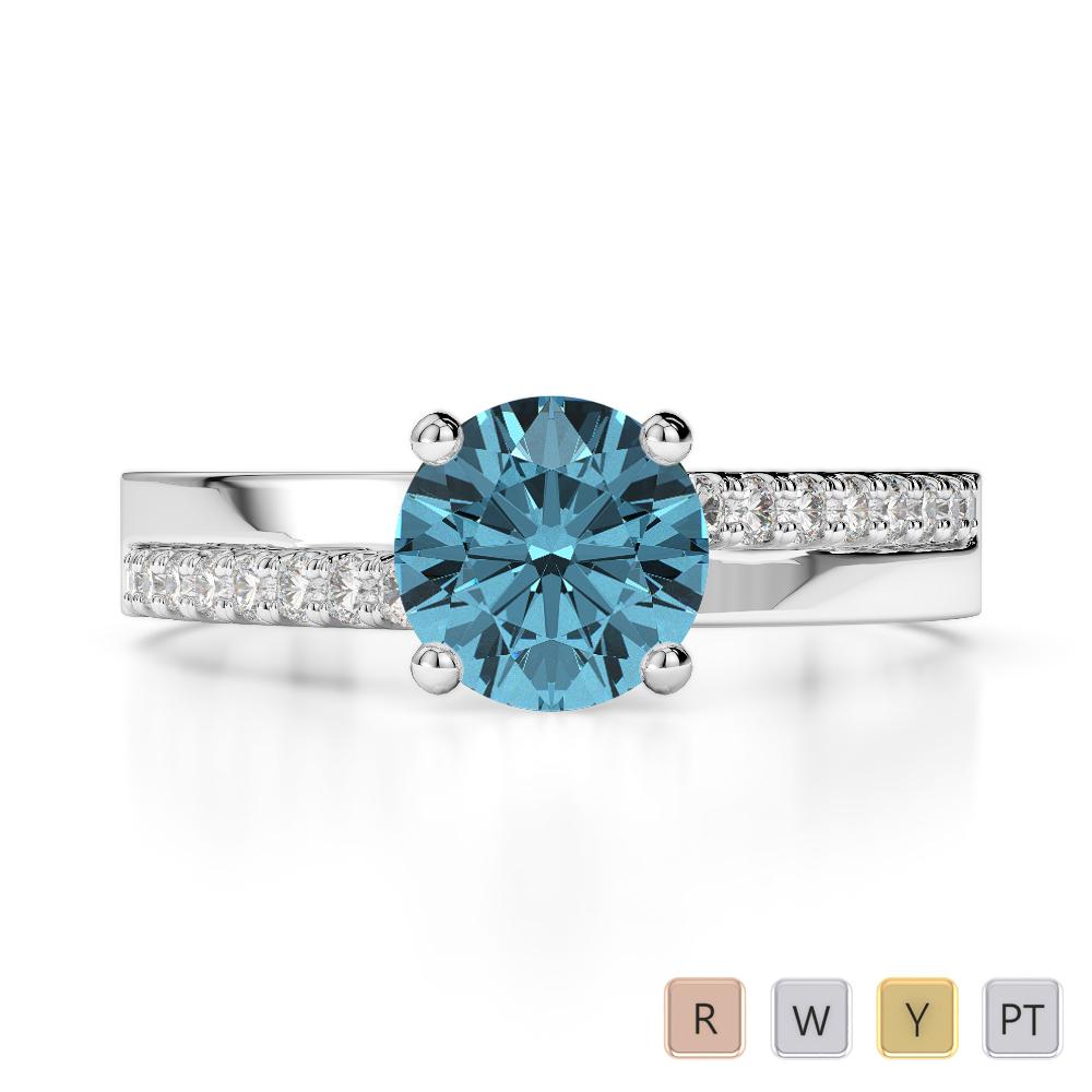 Gold / Platinum Round Cut Aquamarine and Diamond Engagement Ring AGDR-1206