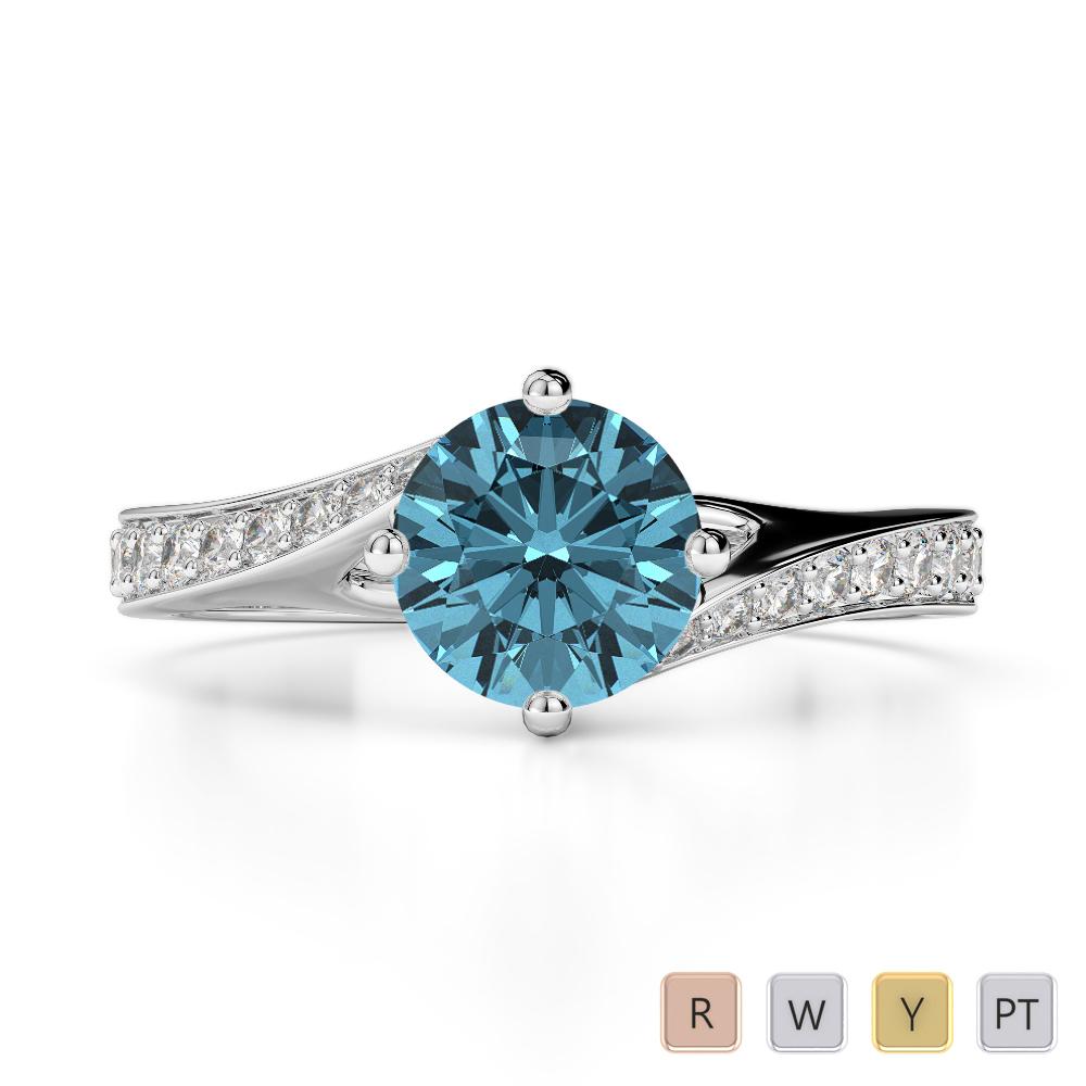 Gold / Platinum Round Cut Aquamarine and Diamond Engagement Ring AGDR-1207