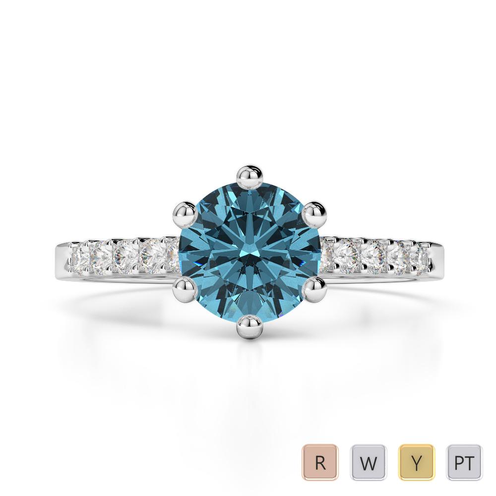Gold / Platinum Round Cut Aquamarine and Diamond Engagement Ring AGDR-1208