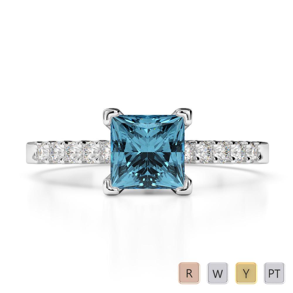 Gold / Platinum Round and Princess Cut Aquamarine and Diamond Engagement Ring AGDR-1210