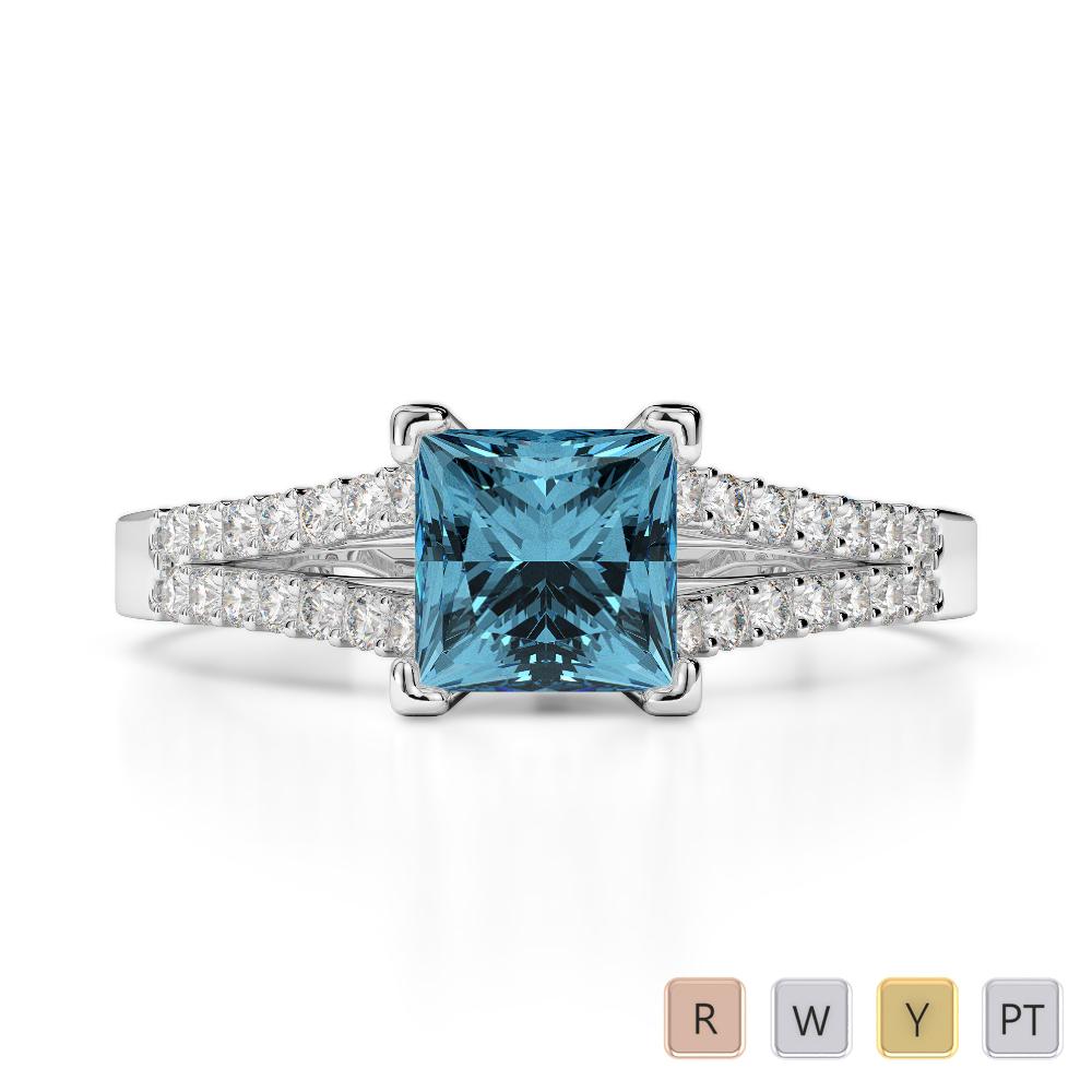 Gold / Platinum Round and Princess Cut Aquamarine and Diamond Engagement Ring AGDR-1211