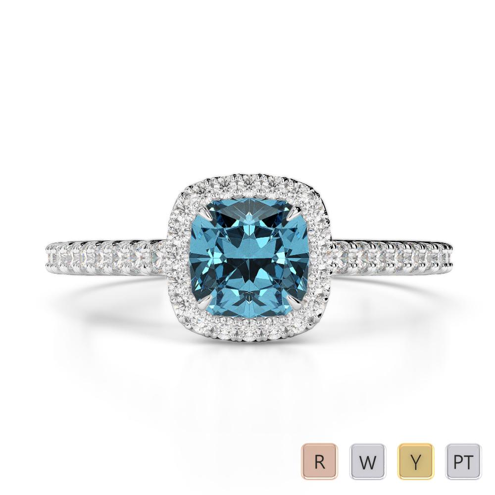 Gold / Platinum Round and Cushion Cut Aquamarine and Diamond Engagement Ring AGDR-1212