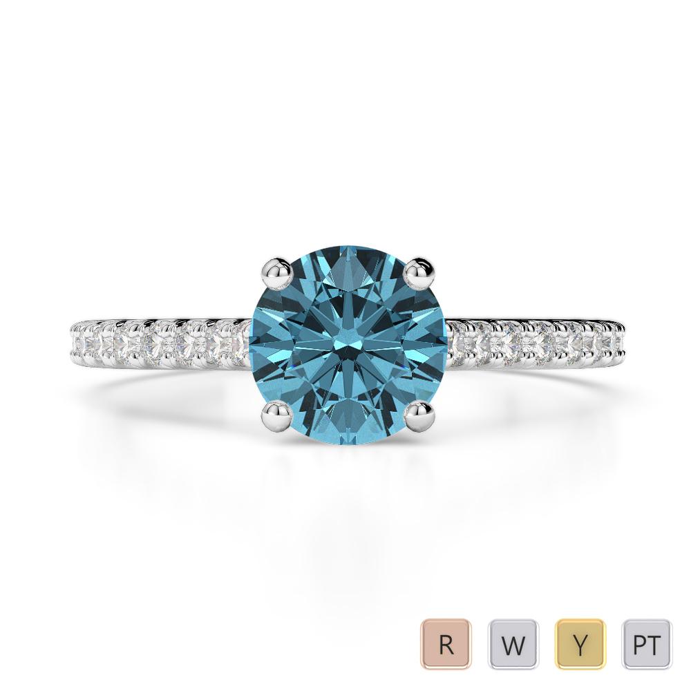 Gold / Platinum Round Cut Aquamarine and Diamond Engagement Ring AGDR-1213