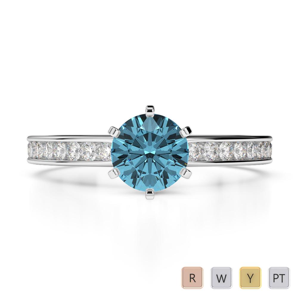 Gold / Platinum Round Cut Aquamarine and Diamond Engagement Ring AGDR-1214