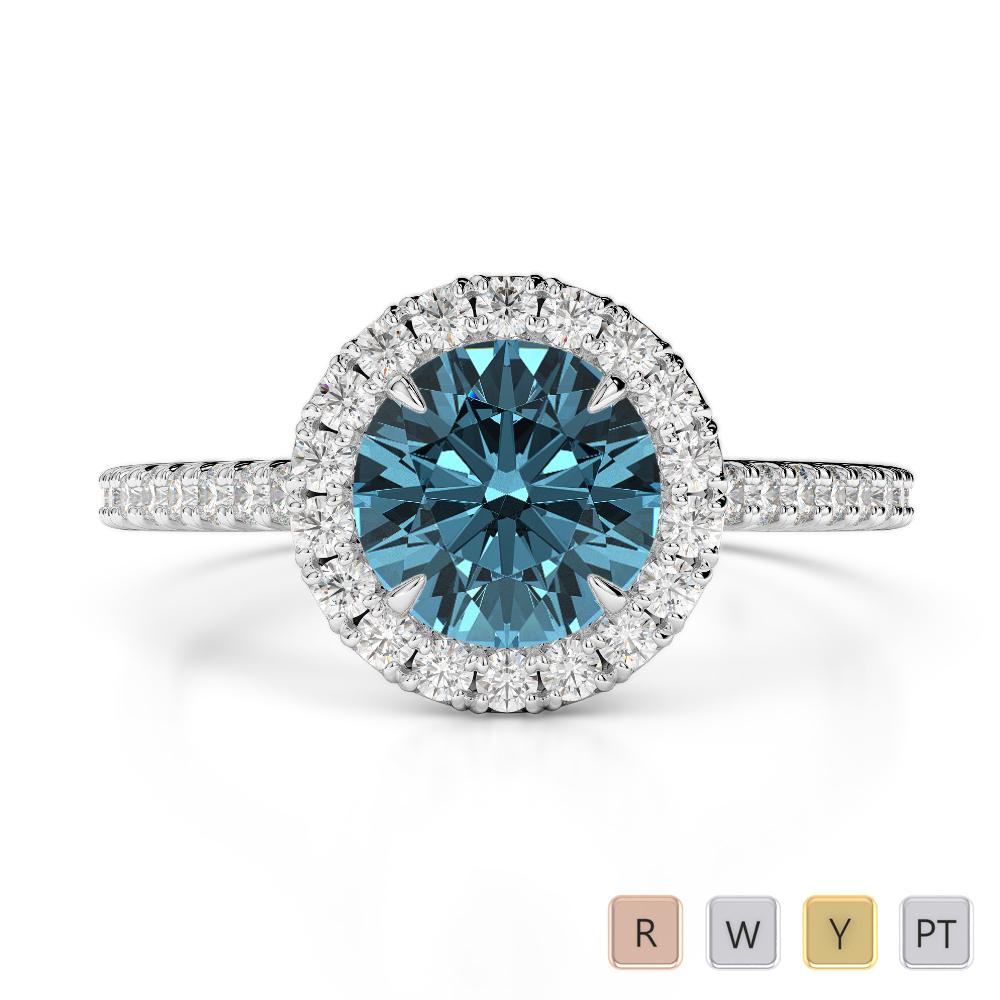 Gold / Platinum Round Cut Aquamarine and Diamond Engagement Ring AGDR-1215