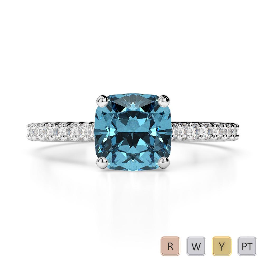 Gold / Platinum Round and Cushion Cut Aquamarine and Diamond Engagement Ring AGDR-1216