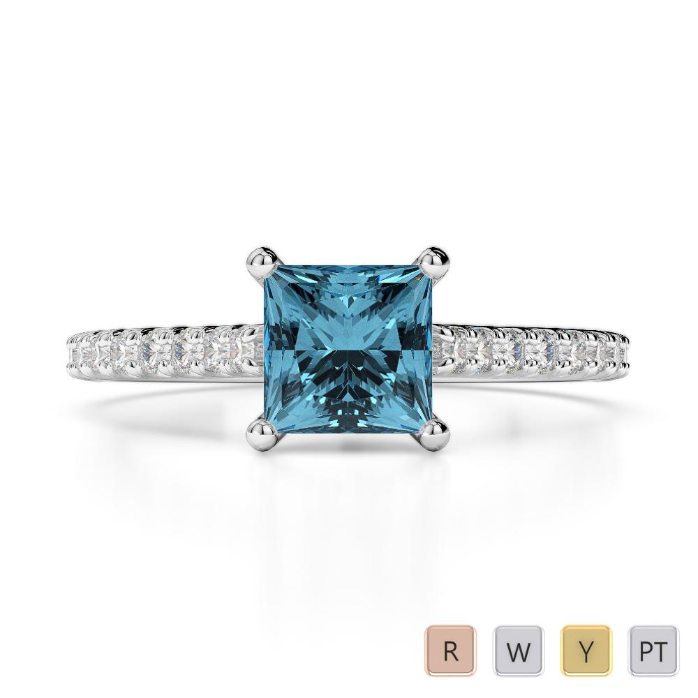 Gold / Platinum Round and Princess Cut Aquamarine and Diamond Engagement Ring AGDR-1217