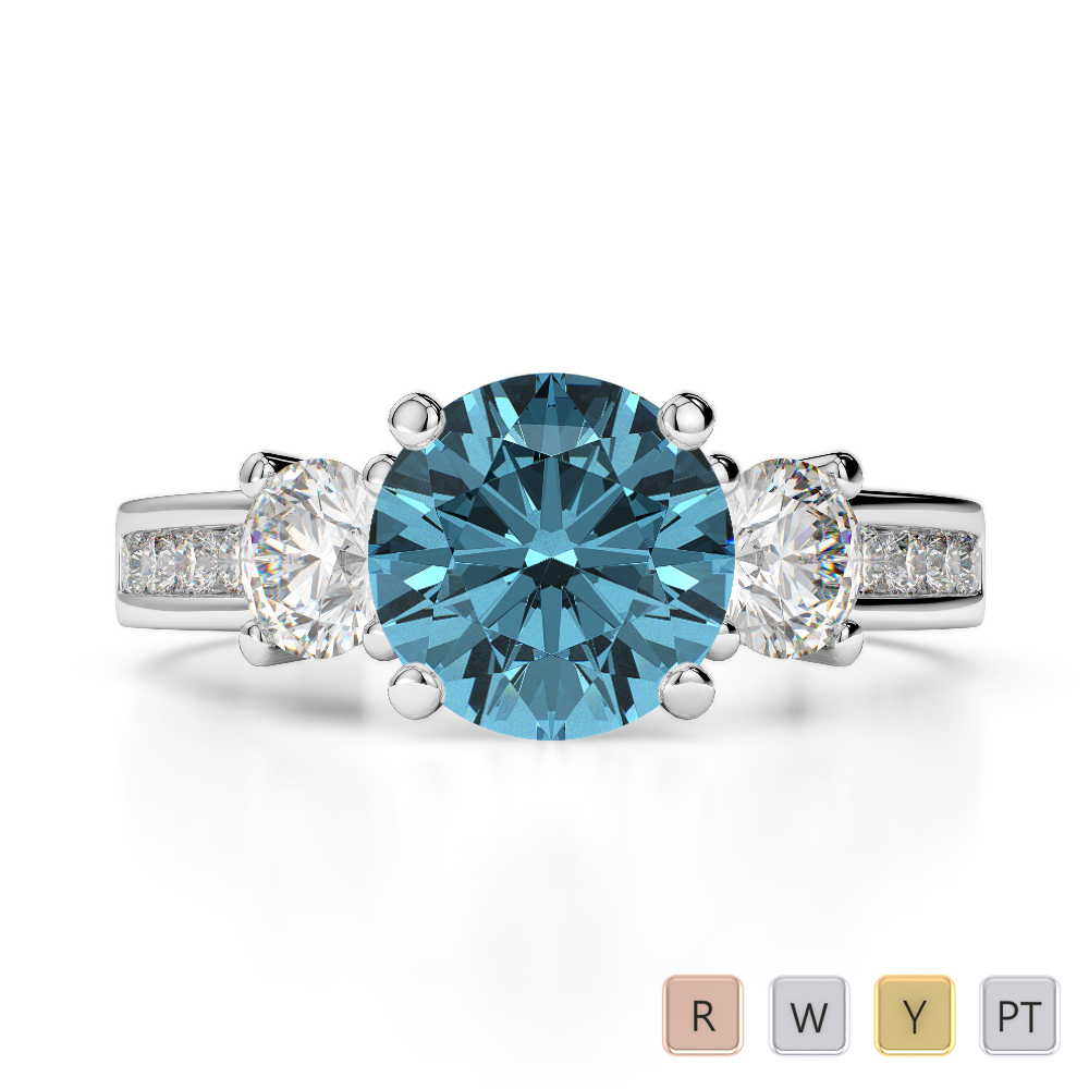 Gold / Platinum Round Cut Aquamarine and Diamond Engagement Ring AGDR-1218