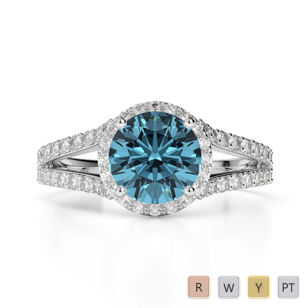 Gold / Platinum Round Cut Aquamarine and Diamond Engagement Ring AGDR-1220