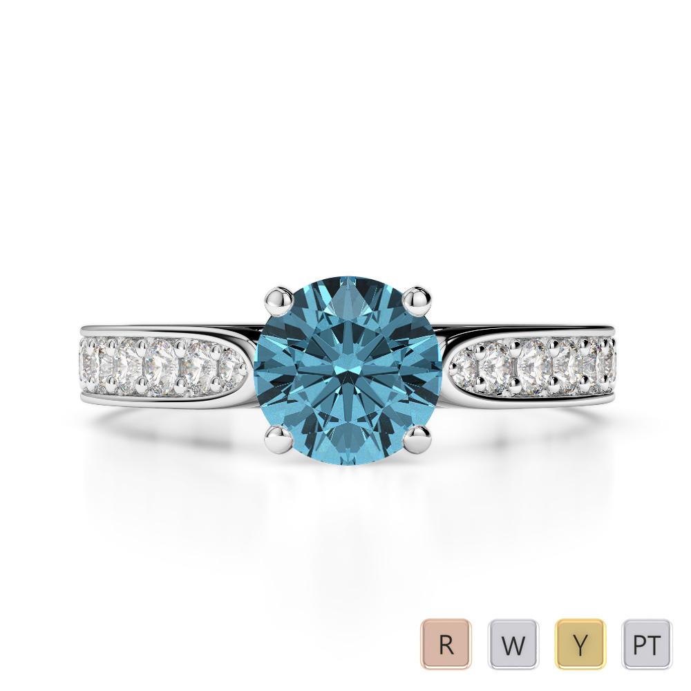 Gold / Platinum Round Cut Aquamarine and Diamond Engagement Ring AGDR-1221