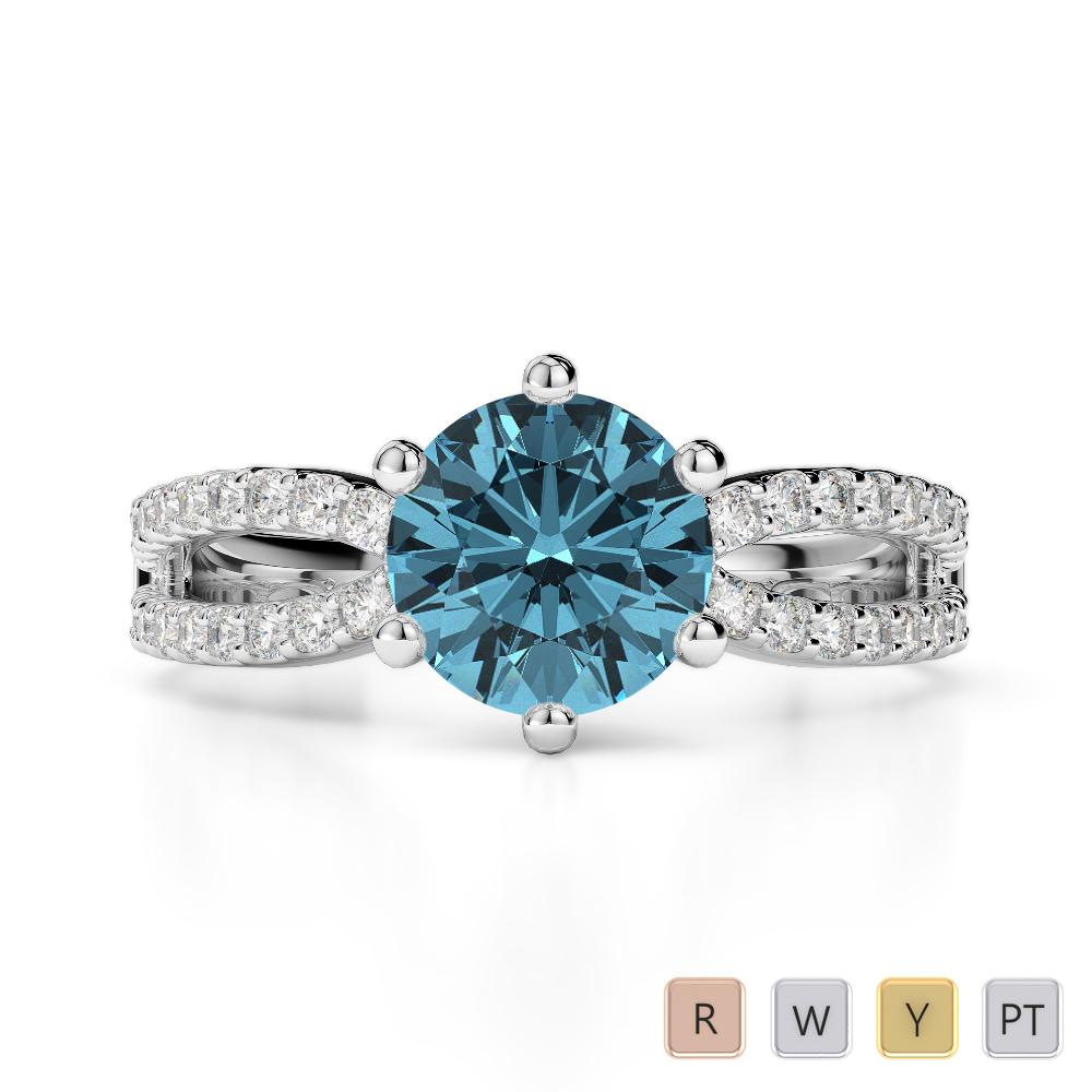 Gold / Platinum Round Cut Aquamarine and Diamond Engagement Ring AGDR-1223