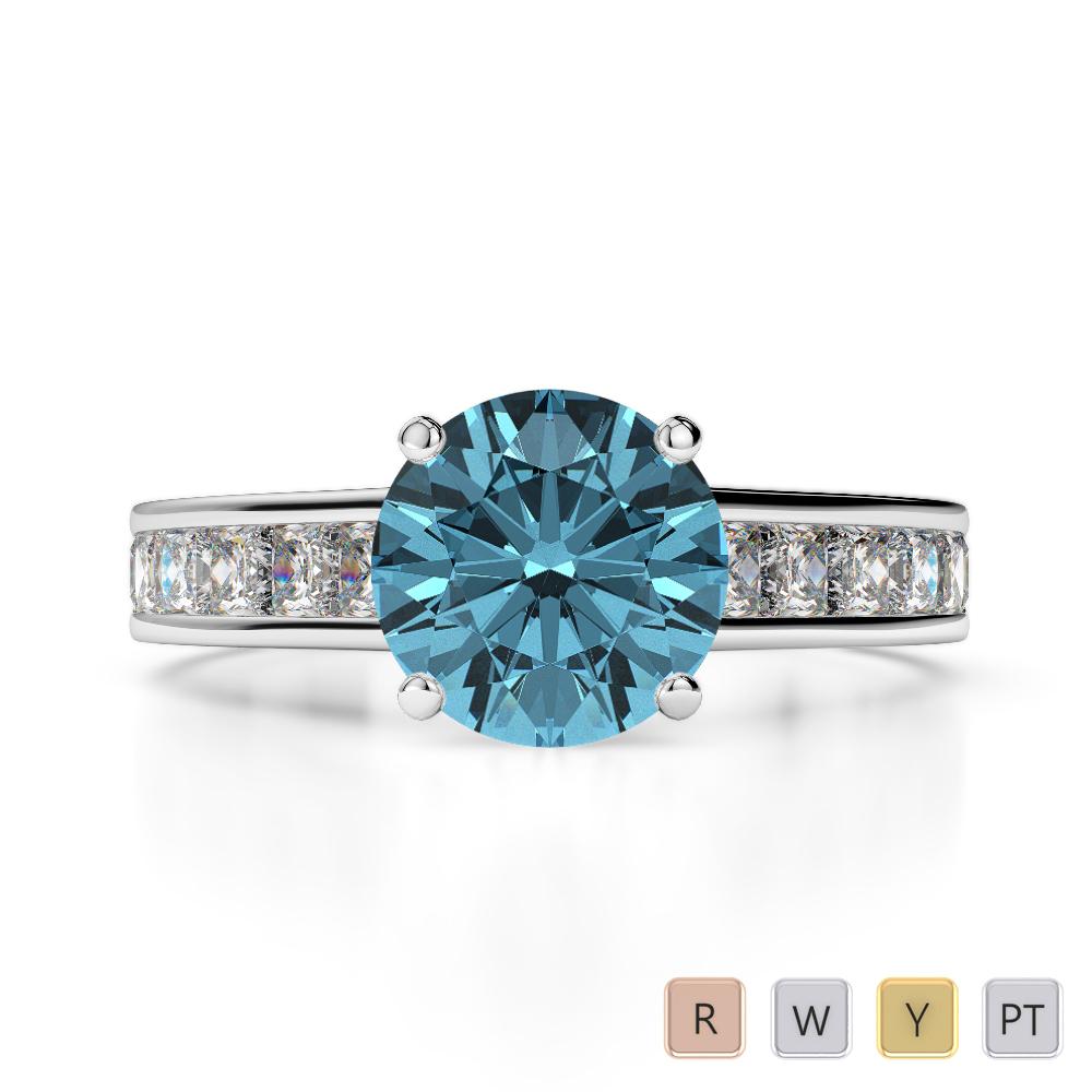 Gold / Platinum Round and Princess Cut Aquamarine and Diamond Engagement Ring AGDR-1224