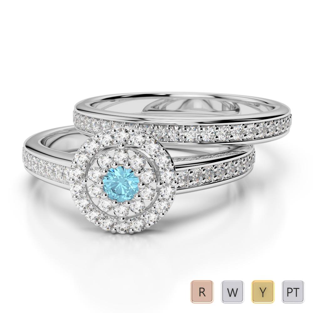 Gold / Platinum Round cut Aquamarine and Diamond Bridal Set Ring AGDR-1239
