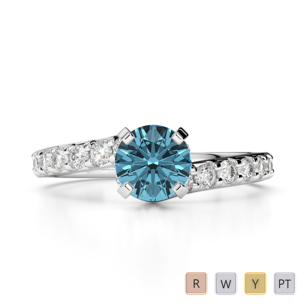Gold / Platinum Round Cut Aquamarine and Diamond Engagement Ring AGDR-2004