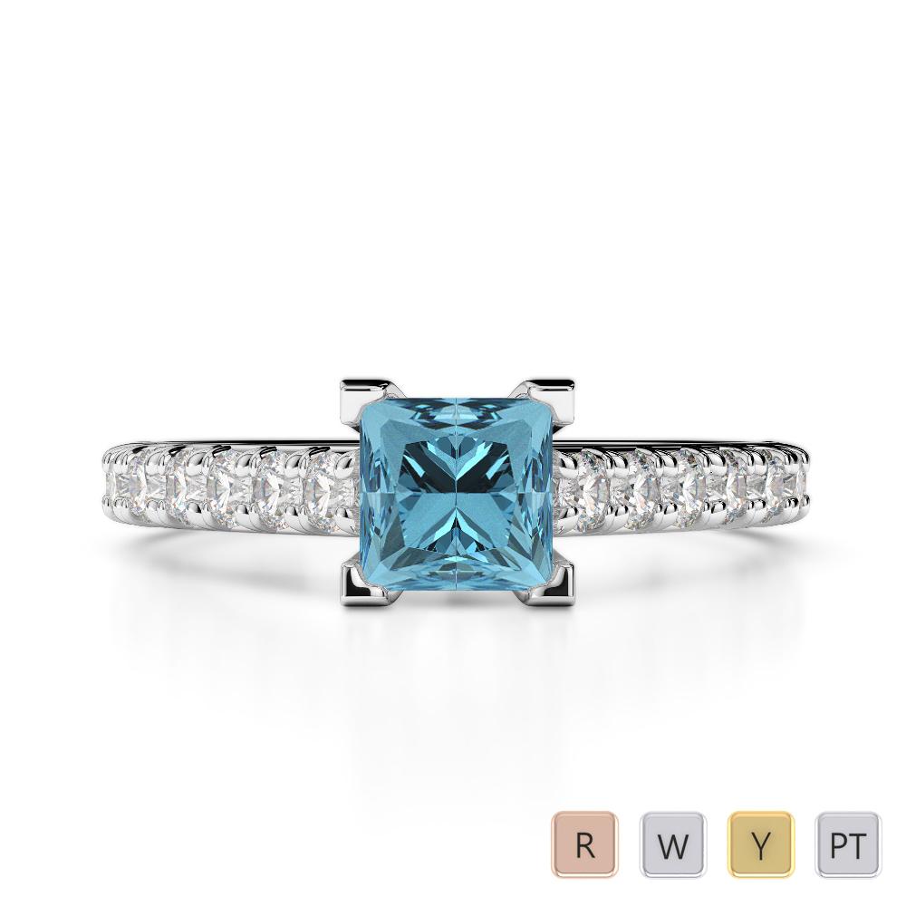 Gold / Platinum Round and Princess Cut Aquamarine and Diamond Engagement Ring AGDR-2008