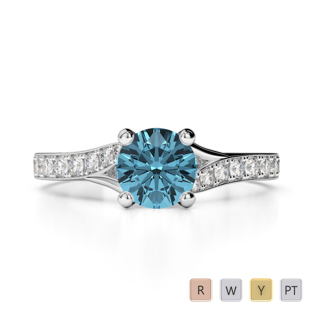 Gold / Platinum Round Cut Aquamarine and Diamond Engagement Ring AGDR-2012