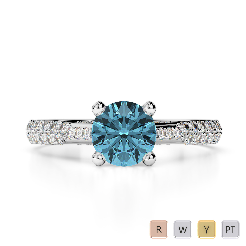 Gold / Platinum Round Cut Aquamarine and Diamond Engagement Ring AGDR-2014