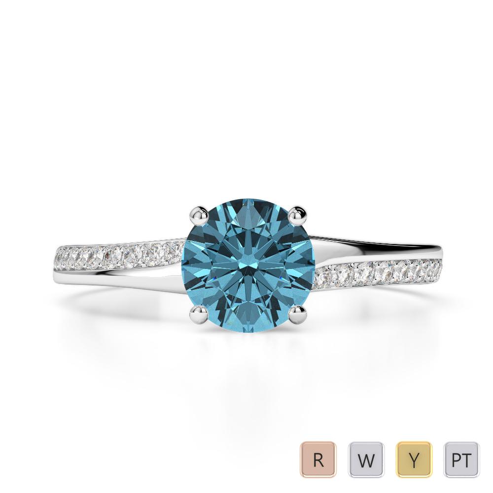 Gold / Platinum Round Cut Aquamarine and Diamond Engagement Ring AGDR-2016