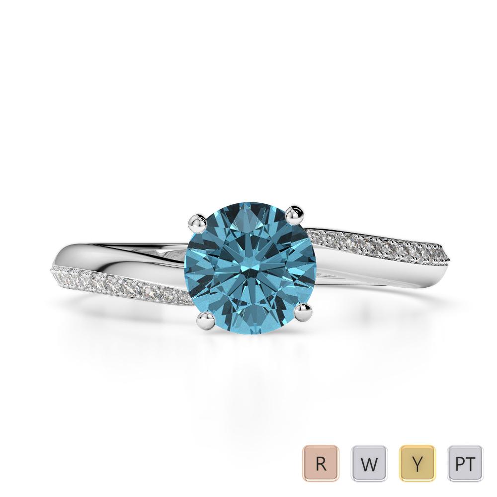 Gold / Platinum Round Cut Aquamarine and Diamond Engagement Ring AGDR-2018