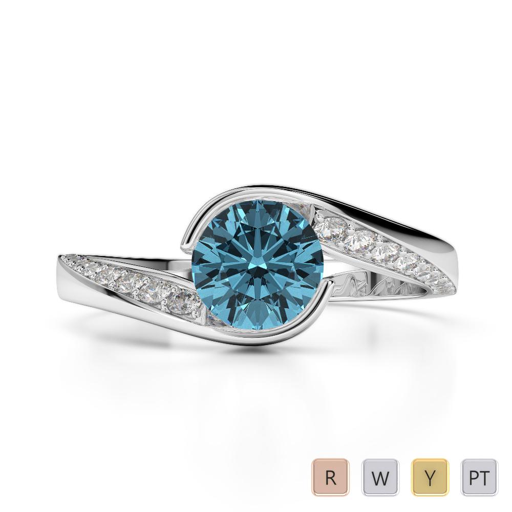 Gold / Platinum Round Cut Aquamarine and Diamond Engagement Ring AGDR-2020