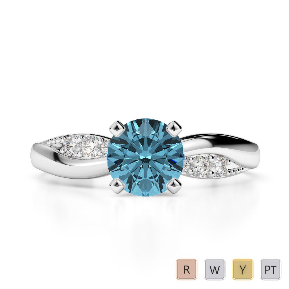 Gold / Platinum Round Cut Aquamarine and Diamond Engagement Ring AGDR-2024