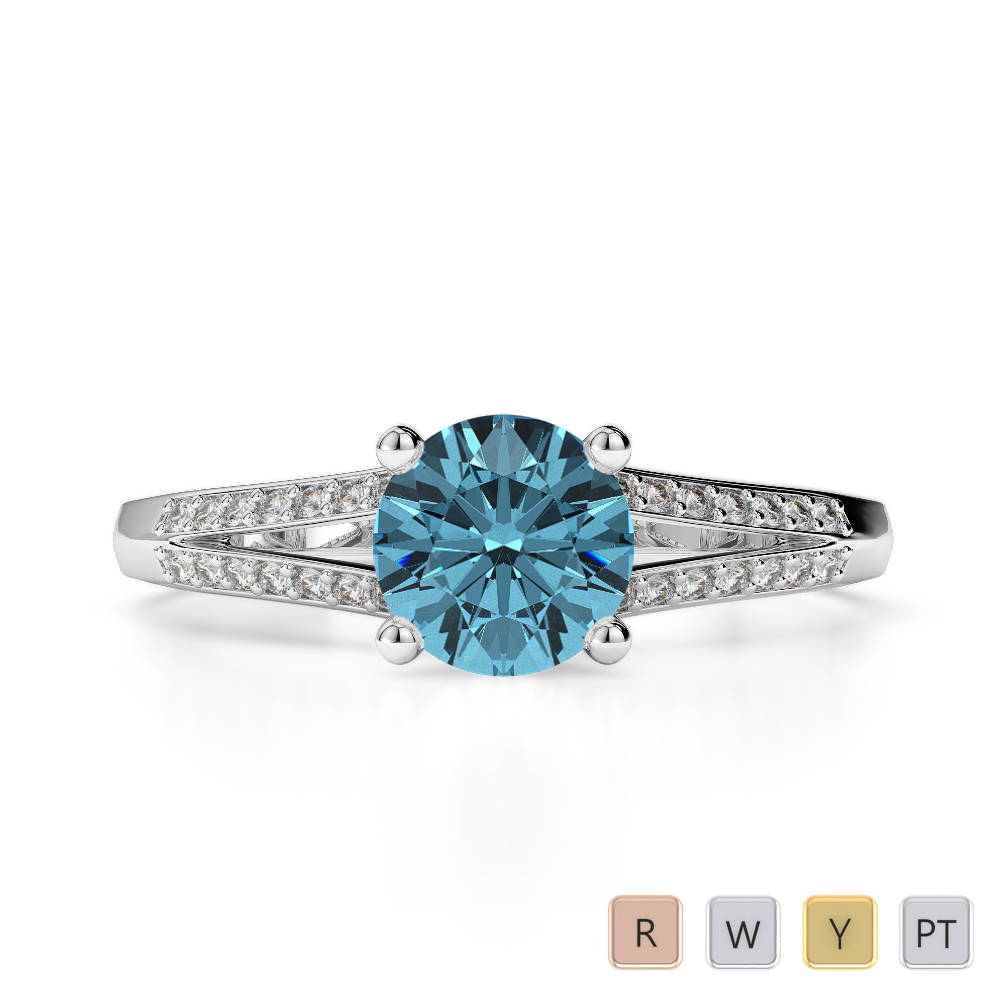 Gold / Platinum Round Cut Aquamarine and Diamond Engagement Ring AGDR-2038
