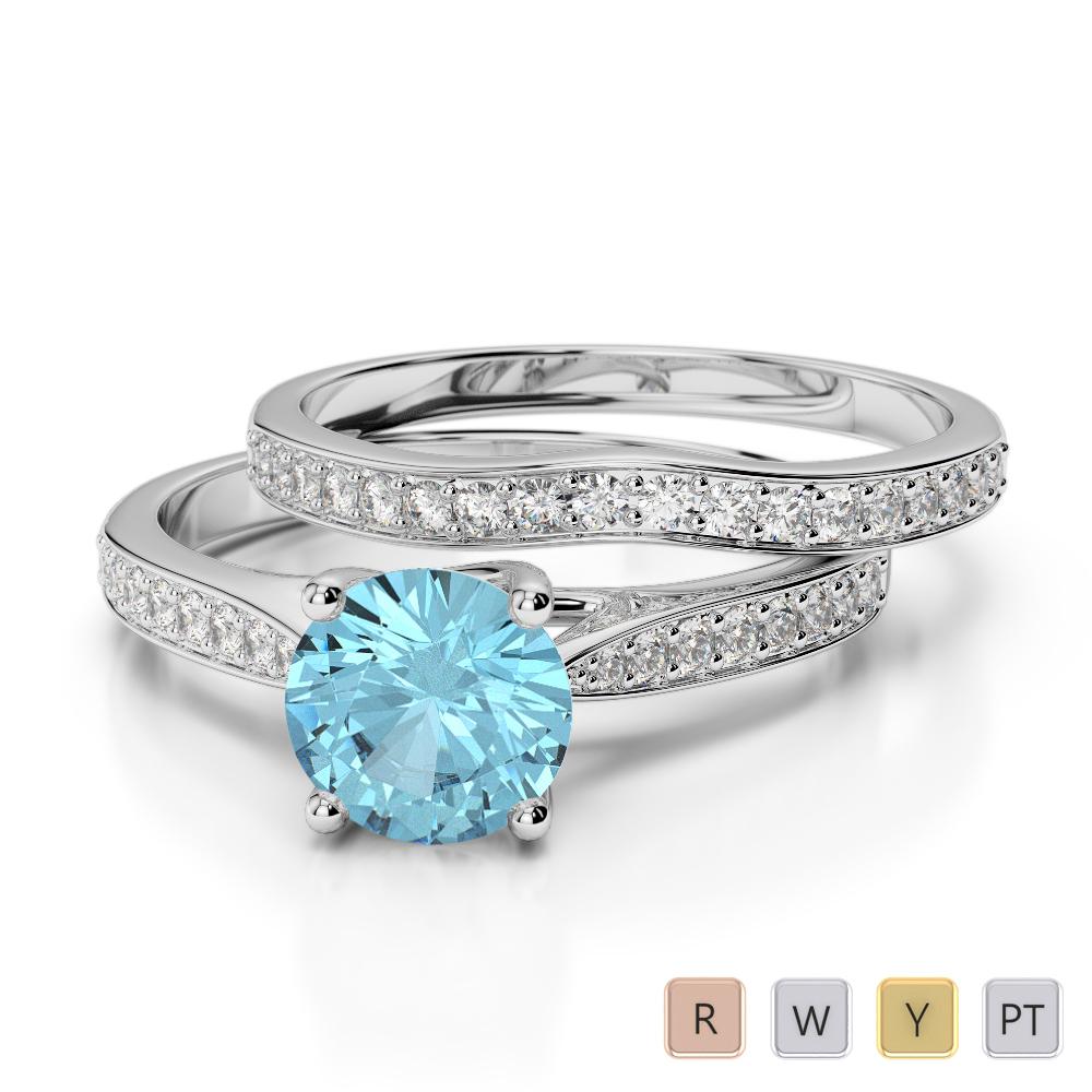 Gold / Platinum Round cut Aquamarine and Diamond Bridal Set Ring AGDR-2053