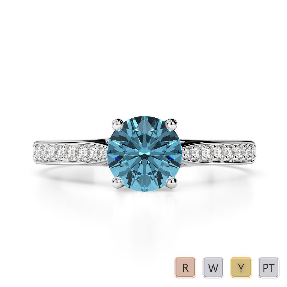 Gold / Platinum Round Cut Aquamarine and Diamond Engagement Ring AGDR-2054