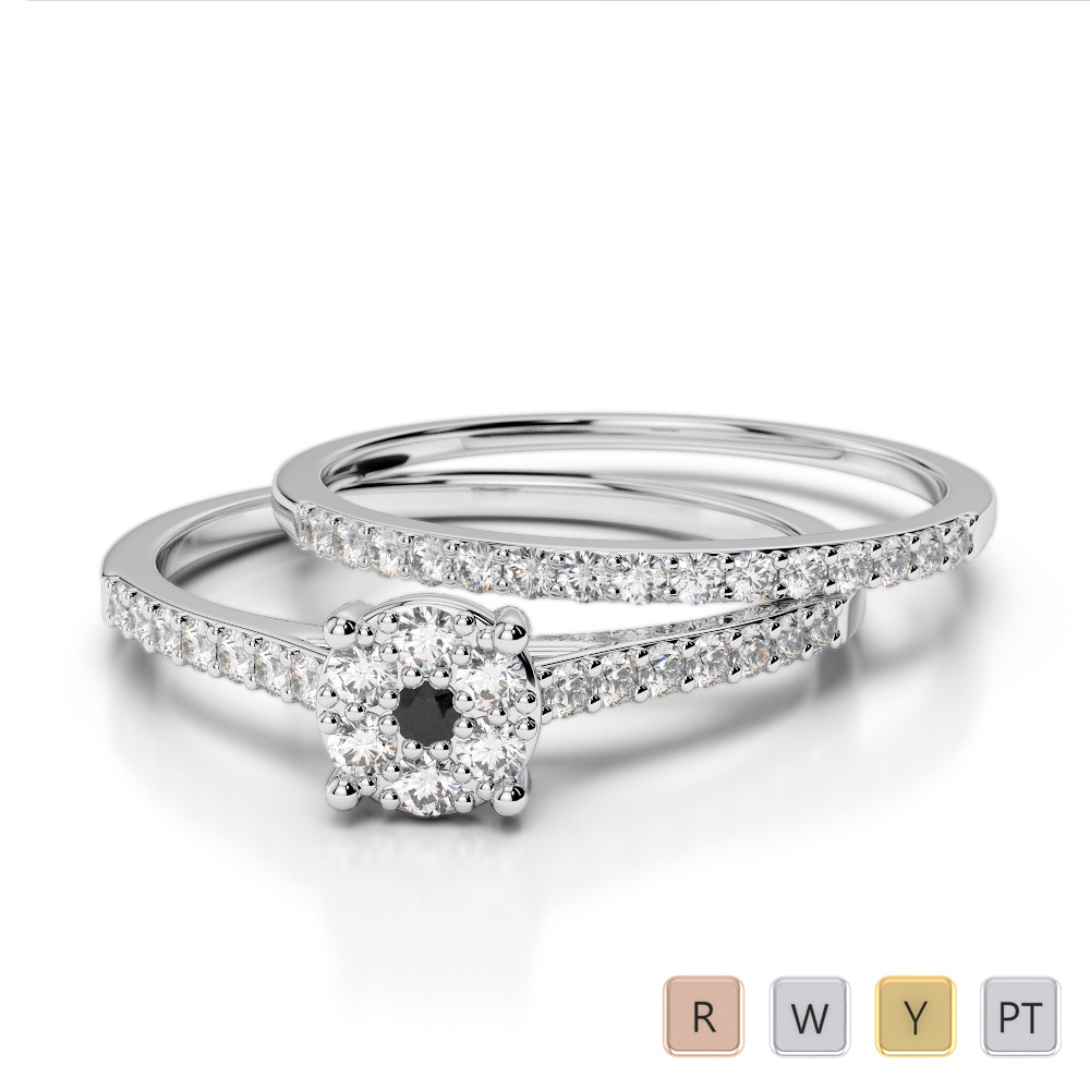 Gold / Platinum Round cut Black Diamond with Diamond Bridal Set Ring AGDR-1053