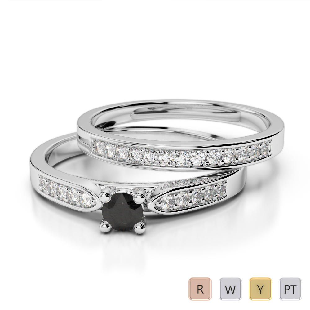 Gold / Platinum Round cut Black Diamond with Diamond Bridal Set Ring AGDR-1054