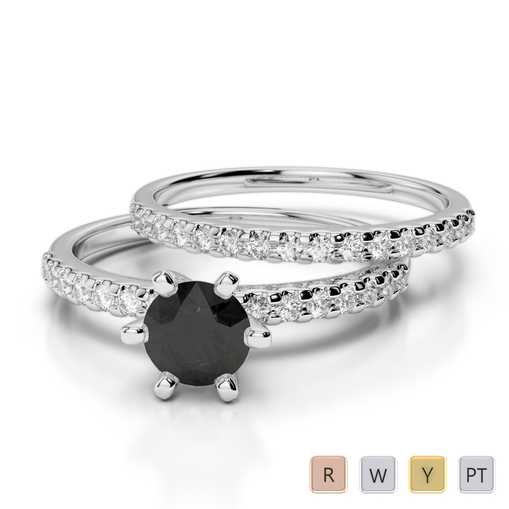 Gold / Platinum Round cut Black Diamond with Diamond Bridal Set Ring AGDR-1145